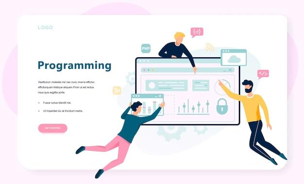 プログラミングの概念。インターネット、さまざまなソフトウェアを使用して、コンピューター、コーディング、テスト、書き込みプログラムに取り組むというアイデア。ウェブサイト開発。漫画のスタイルのイラスト Premiumベクター