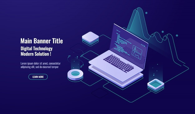 Programming concept isometric icon, laptop with program code on screen, data visualization dark neon Free Vector