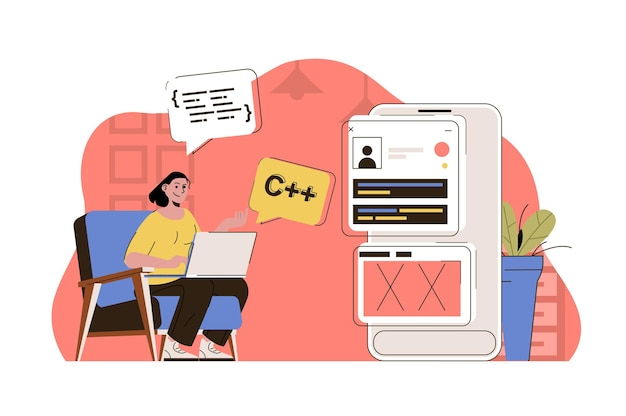 Programming concept woman working writing code testing program at office