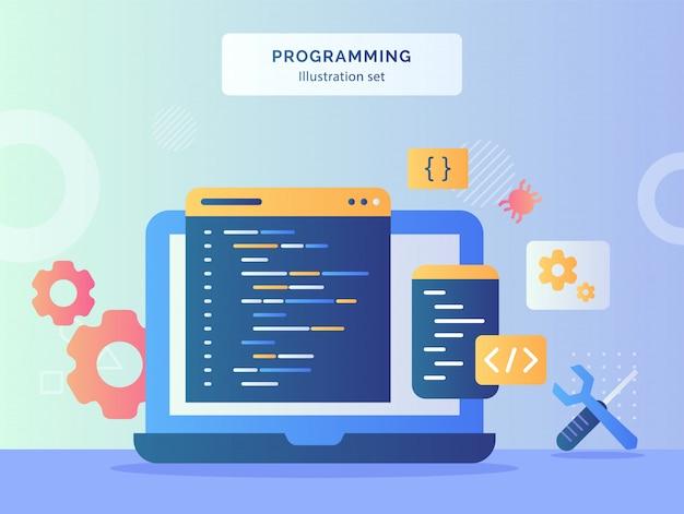 プログラミングイラストは、フラットスタイルのメカニックシンボルレンチドライバーギアバグのディスプレイモニターラップトップ背景にコーディング言語プログラムを設定します。 Premiumベクター