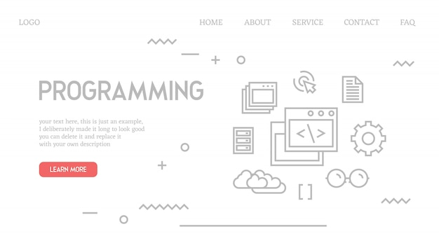 Programming landing page in doodle style Premium Vector