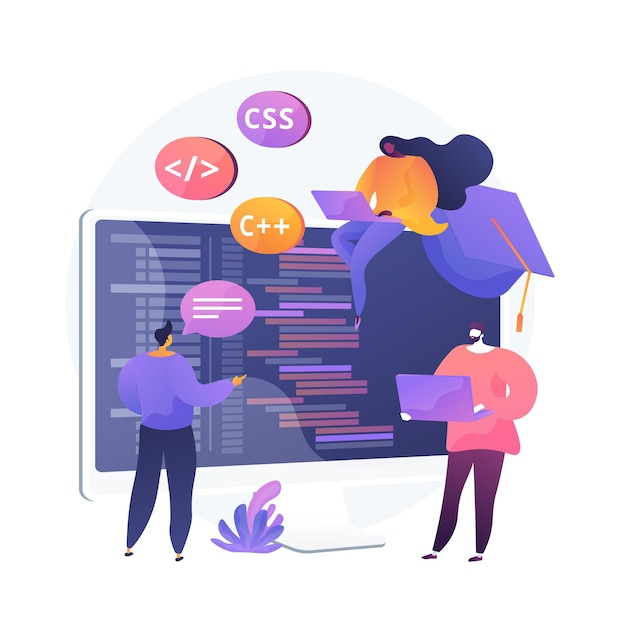 Programming languages learning. software coding courses, website development class, script writing. it programmers cartoon characters. Free Vector