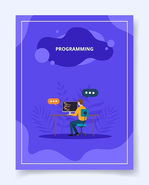 Programming man development software apps on computer Premium Vector