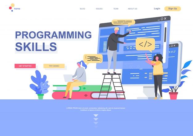 プログラミングスキルフラットランディングページテンプレート。インターネットアプリケーションの状況を設計および構築する開発者。人のキャラクターのあるwebページ。ソフトウェア開発のイラスト。 Premiumベクター