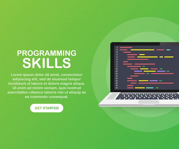 Webサイトおよびモバイルwebサイトテンプレートのプログラミングスキル Premiumベクター