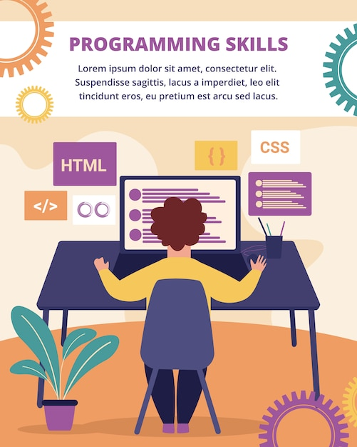 Programming skills vertical banner. development. Premium Vector
