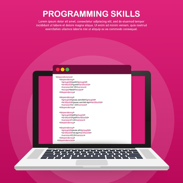 Programming skills for website and mobile website template Premium Vector