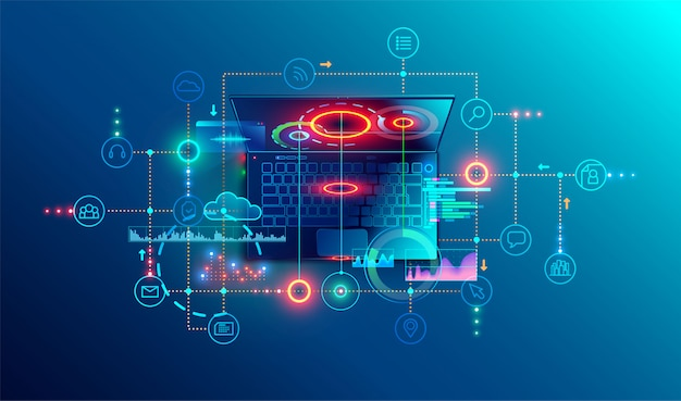 Programming or software development abstract concept. top view Premium Vector