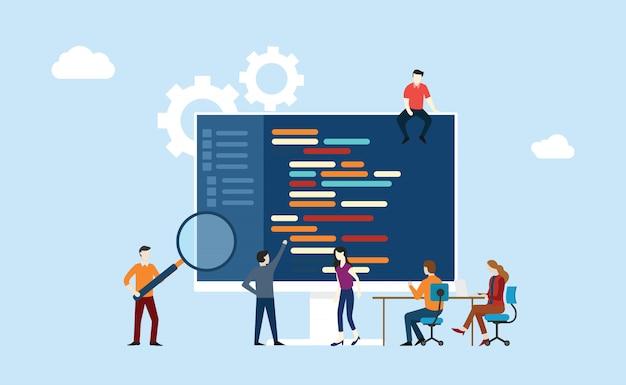 Programming team Premium Vector