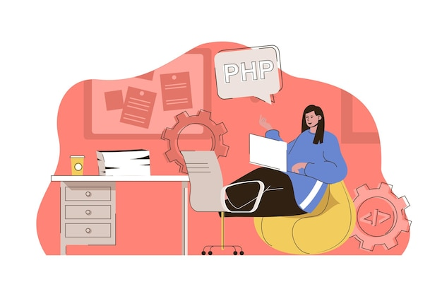 Programming tools concept woman works in different programming languages