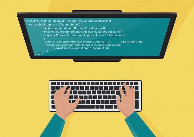 Программирование, концепция веб-разработки. руки программистов на клавиатуре. код на экране монитора. плоская иллюстрация. Premium векторы