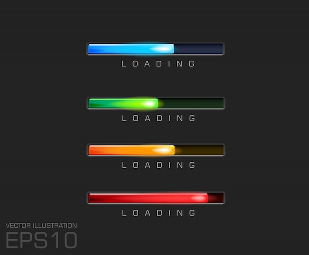Progress bar and loading different colors on black background  file. Premium Vector