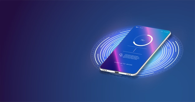The progress of charging the battery of the phone.  futuristic phone is charged wirelessly on a blue background. Premium Vector