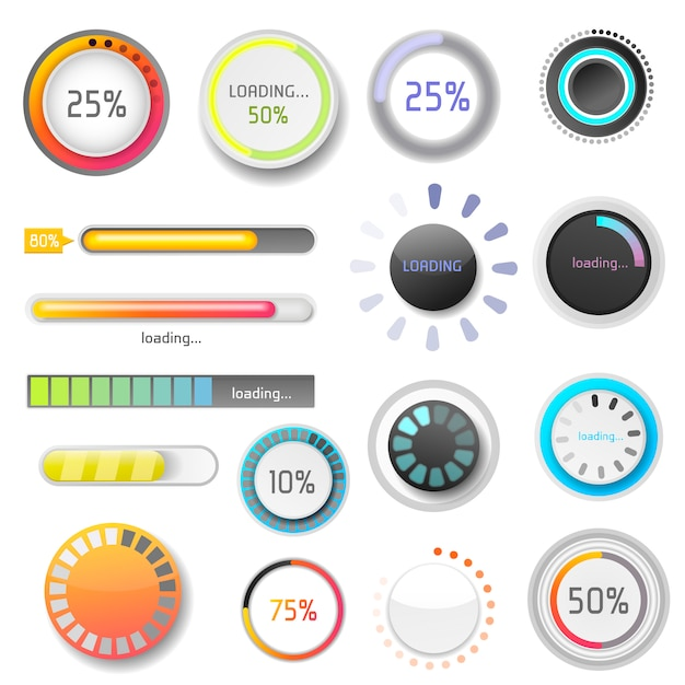Progress loading bar indicators download progress ui-ux web design template interface file upload illustration Premium Vector