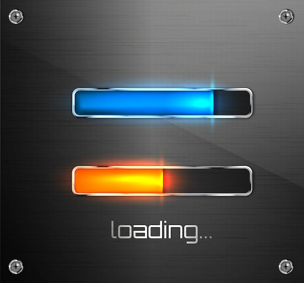 Progress loading bar for mobile apps or web preloader. Premium Vector