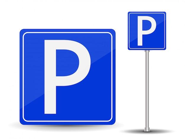 駐車禁止。赤と青の道路標識。 Premiumベクター