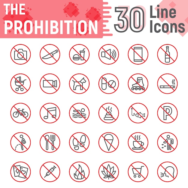 Prohibition line icon set, forbidden signs collection Premium Vector