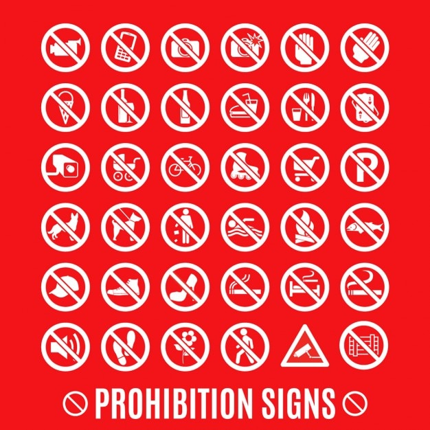 Prohibition set Free Vector
