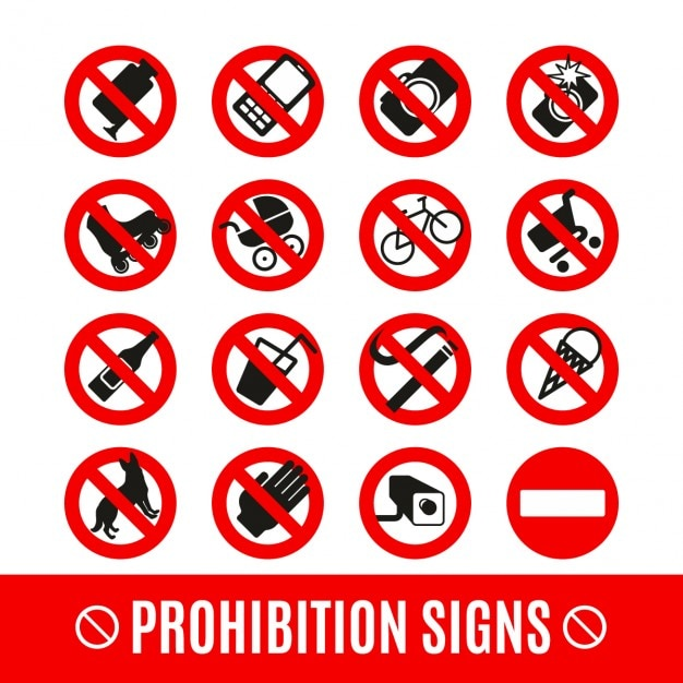 Prohibition signs set Free Vector