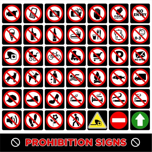 Prohibition signs Free Vector