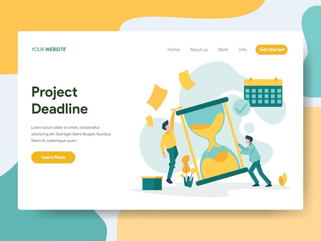 Project deadline for website page Premium Vector