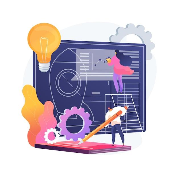 프로젝트 시작 추상적 인 개념 벡터 일러스트입니다. 프로젝트 문서화, 비즈니스 분석, 비전 및 범위, 목표 결정, 작업 할당, 시간 프레임 및 타임 라인 추상 은유. 무료 벡터
