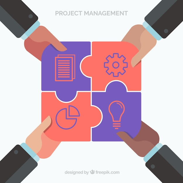 Project management and teamwork concept in flat\ style