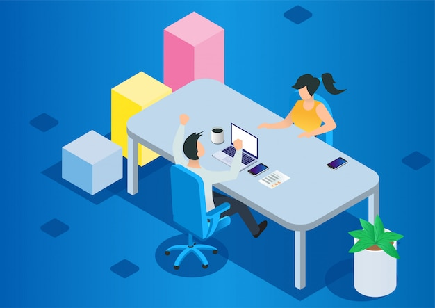Project management and financial report strategy Premium Vector