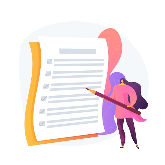 Project management, goal completion, to do list. questionnaire survey answering. business organization tool. office manager with checklist and pencil. Free Vector