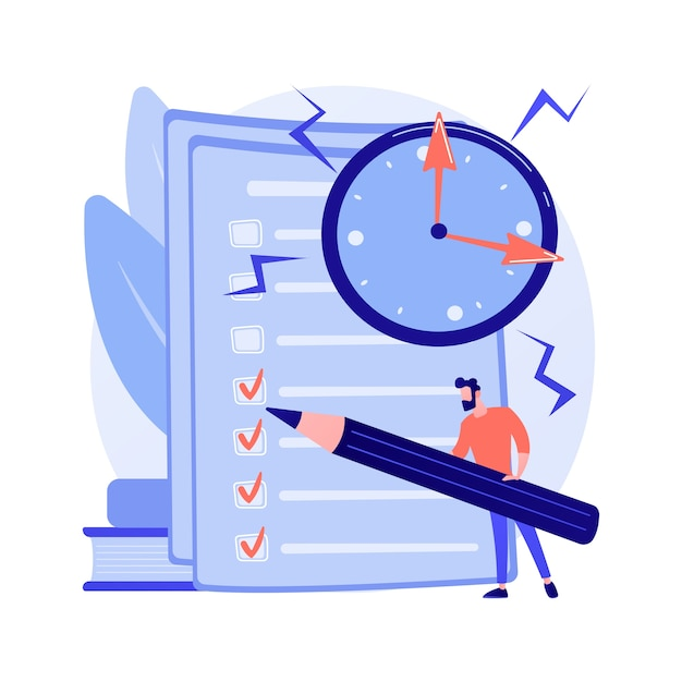Project management, goal completion, to do list. questionnaire survey answering. business organization tool Free Vector