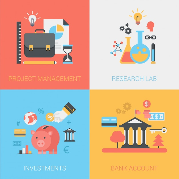 Project management, research lab, investments, bank account icons set. Free Vector