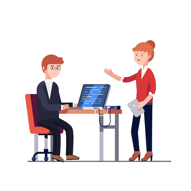 Project manager woman talking to a programmer man Free Vector