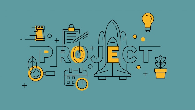 Project orange in blue line design Premium Vector