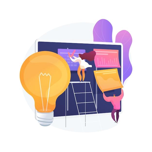 Illustrazione di vettore di concetto astratto di pianificazione del progetto. creazione del piano di progetto, gestione della pianificazione, analisi aziendale, visione e ambito, stima della tempistica e dei tempi, metafora astratta del documento. Vettore gratuito