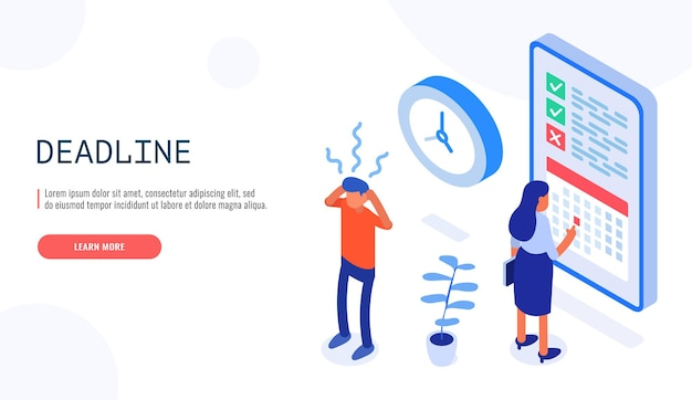 Project planning, deadline and time management concept. woman checking the date on the calendar, man holding his head in stress. Premium Vector