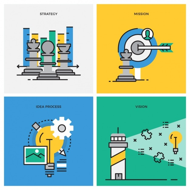 Project steps designs collection Free Vector