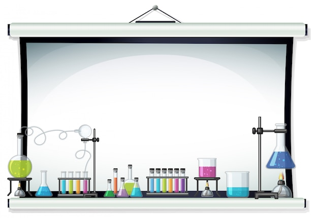 Projector screen with laboratory equipment Premium Vector