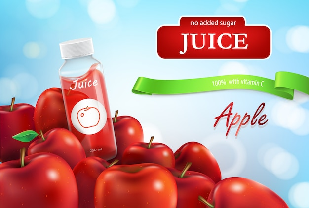 promo banner of apple juice poster for advertising liquid in