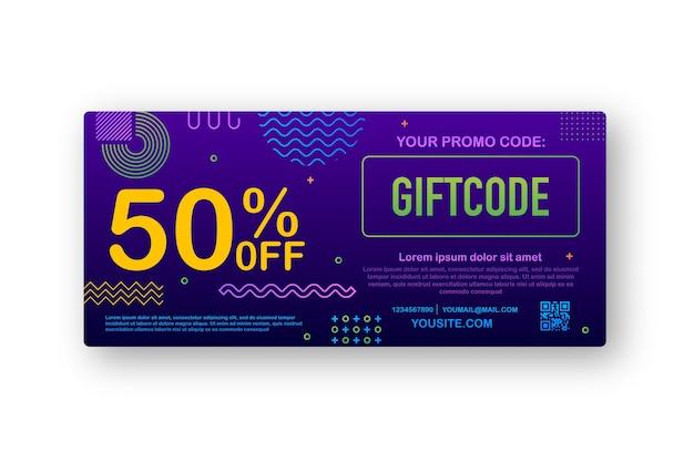 プロモーションコード。クーポンコード付きギフト券。 eコマース、オンラインショッピングのためのプレミアムeギフトカードの背景。マーケティング。図。 Premiumベクター