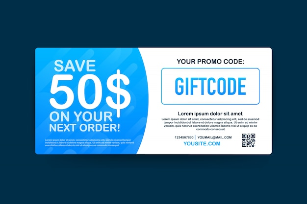 Premium Vector Promo Code Gift Voucher With Coupon Code Premium Egift Card For E Commerce Online Shopping Marketing