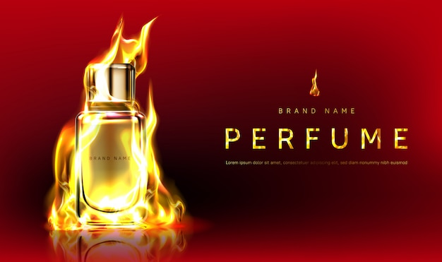 Promo  with perfume bottle in fire flame Free Vector