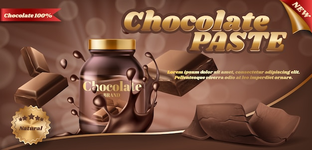 Promotion banner of chocolate paste or nut butter in plastic jar Free Vector