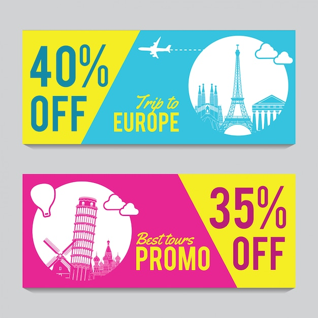 Promotion banner for europe travel Premium Vector
