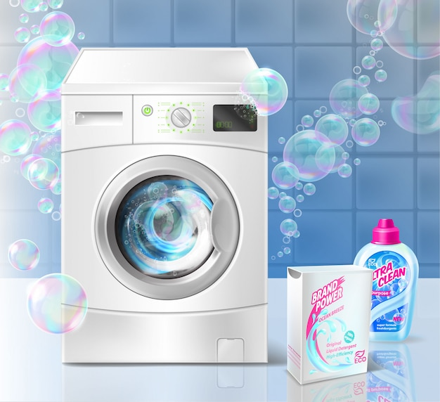 Рекламный баннер жидкого моющего средства для стирки, стиральная машина и мыльные пузыри Бесплатные векторы
