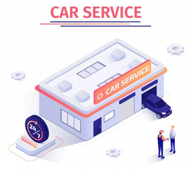 Promotion banner offers round-the-clock car repair service Premium Vector