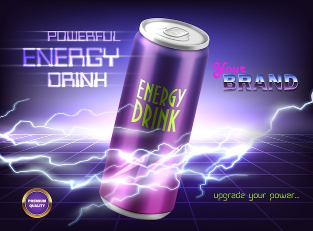 Promotion banner of powerful energy drink. aluminum can with carbonated tonic, soda, alcoholi Free Vector