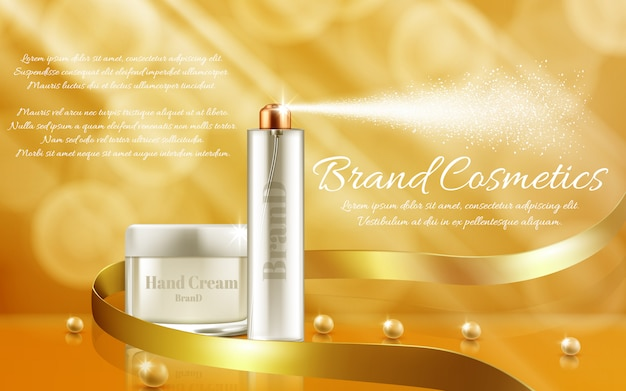 Promotion banner with glass jar and spray bottle for cosmetic products, hand cream Free Vector