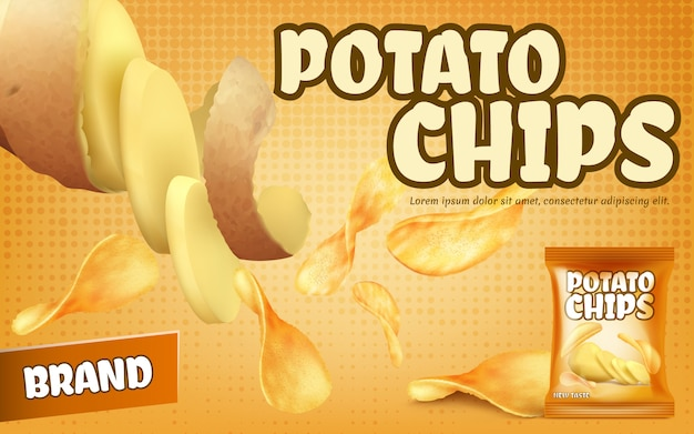 Promotion banner with potato chips, foil package with crispy salted snacks Free Vector
