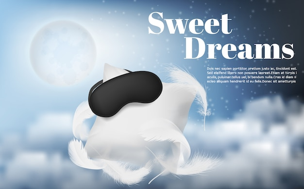 Promotion banner with realistic white pillow, blindfold, feathers Free Vector