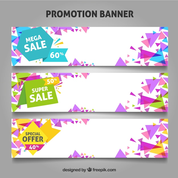 Promotion banners for offers and sales.